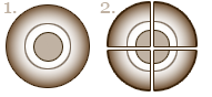 Illustrasjon Champinon delt i fire