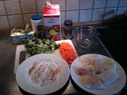 Steinbit med stekt ris - ingredienser