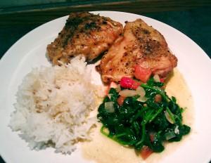 Saftige kyllinglår med ris og spinat