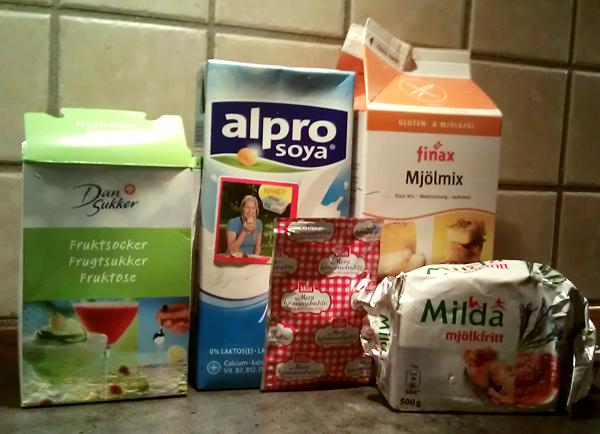 Ingredienser til gluten- og melkefrie kanelboller