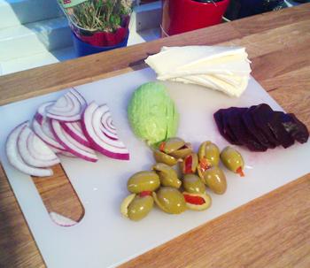 Grønnsaker til biffbaguette