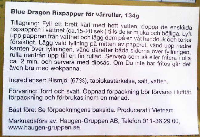 Informasjon om rispapir til vårruller