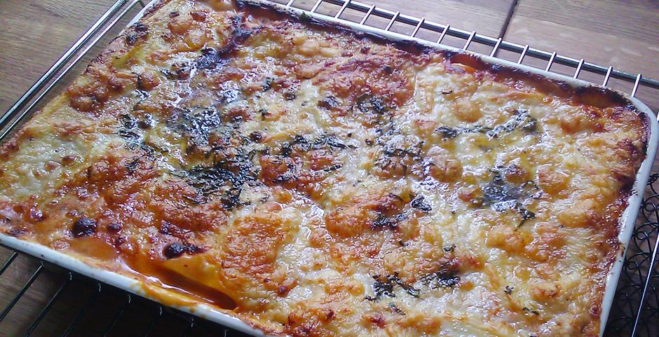 Lasagne rett fra ovnen