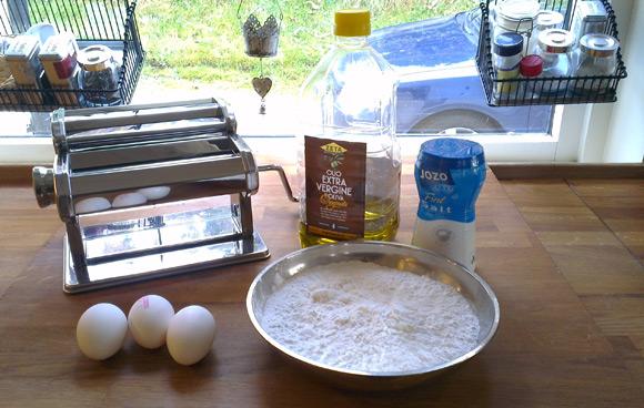 Hjemmelaget pasta ingredienser
