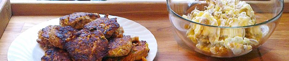 Tunfiskekaker og lun potetsalat