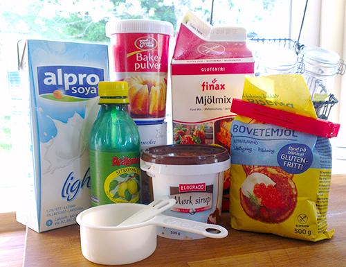 Dette er ingrediensene du trenger for å lage gode glutenfrie og melkefrie frokostvafler