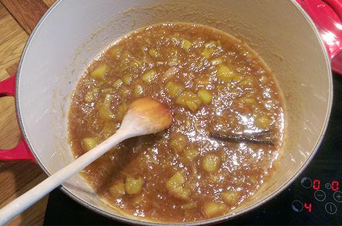 Rabrabrakompott med sirup, melis, sukker og vaniljestang