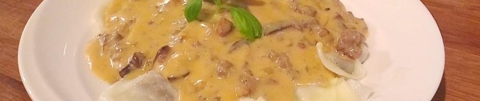 Hjemmelaget tortellini med elgkjøtt og shitakesaus